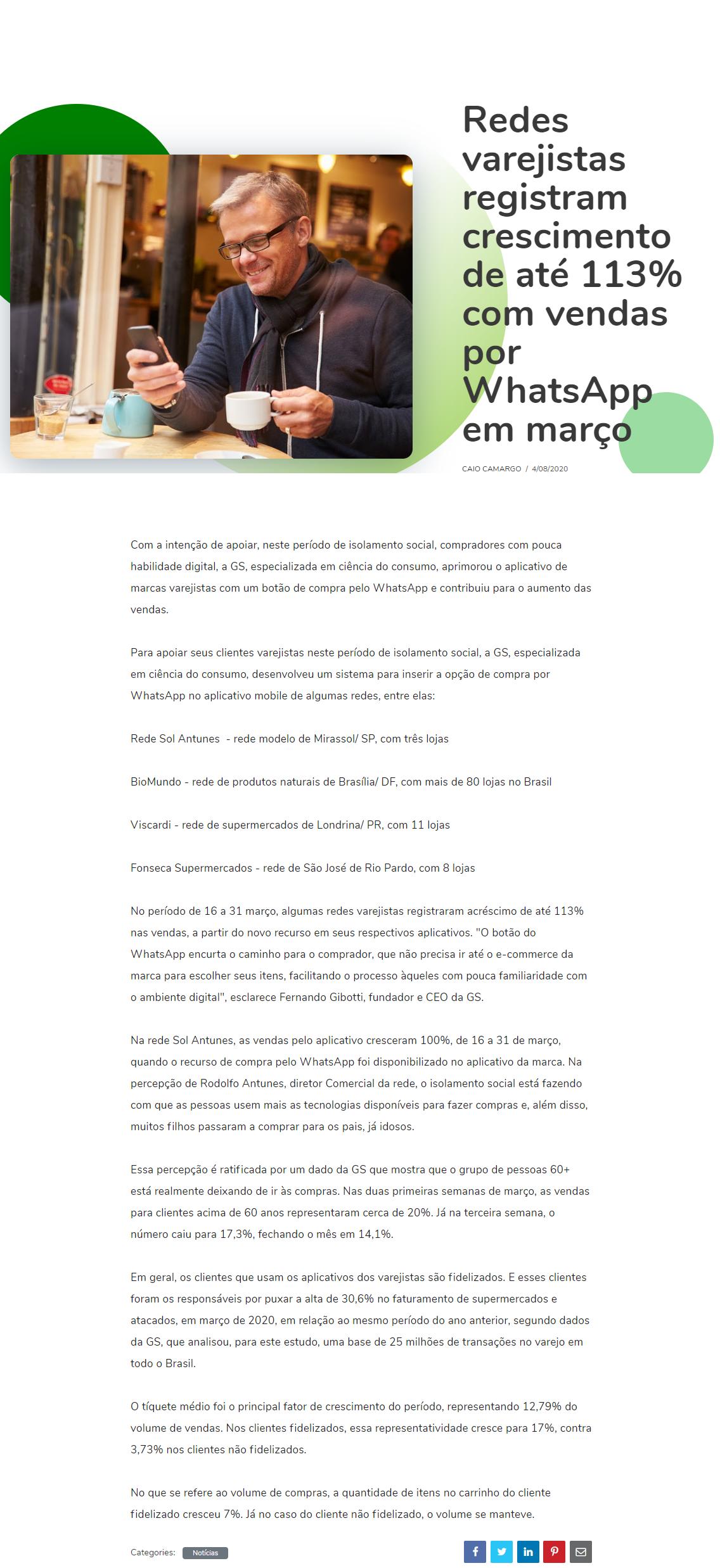 Falando de Varejo - Redes varejistas registram crescimento de até 113% com vendas por WhatsApp em março